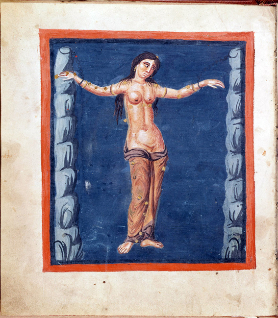 Apainting of a woman naked to the waist, standing on a plain colored background between two columns of stylized rocks, to which her arms have been chained so that she forms the figure of a cross. A few odd marks, rather small and discreet, are shown on the figure in various places: they represent stars, the image being that of the constellation Andromeda in the Leiden manuscript of the Aratea of Germanicus.