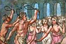 [image ALT: A crowd of young women against a background of tall narrow arches; in front of them, two young men, naked except for a loincloth, each waving a large object like the handle of a leash. It is an 18c depiction of the ancient Roman festival Lupercalia. The image serves as the icon on this site for 'The Lupercalia' by A. M. Franklin.]